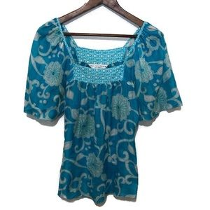Trina Turk size P aqua and white floral top